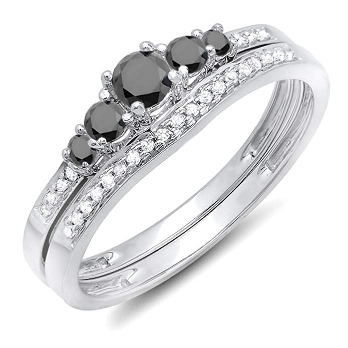 0.45 Carat (ctw) 10k White Gold Round Black & White Diamond Ladies 5 Stone Bridal Engagement Ring Set