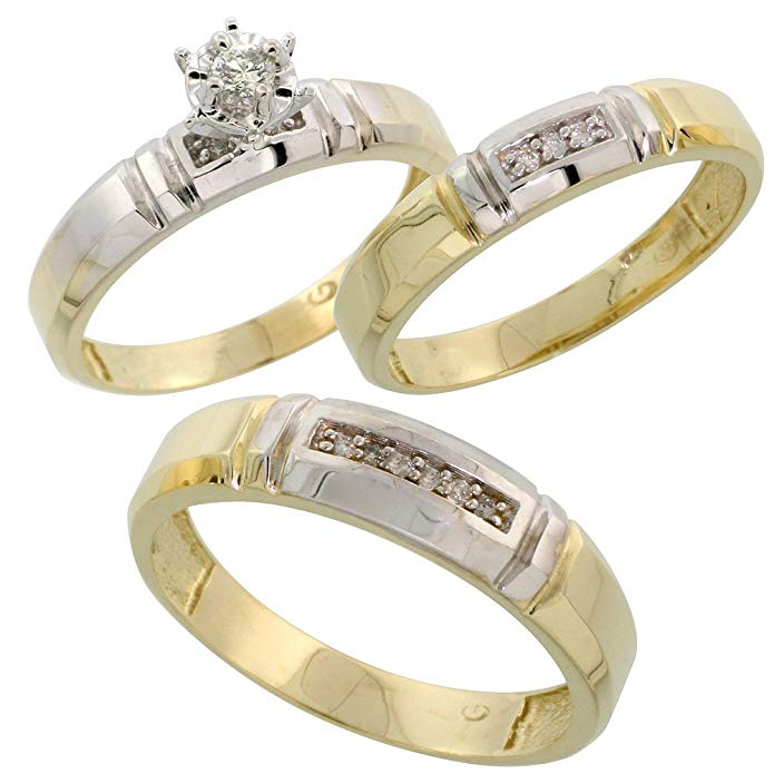 Gold Plated Sterling Silver Diamond Trio Wedding Ring Set His 5.5mm & Hers 4mm, Mens Size 8 to 14