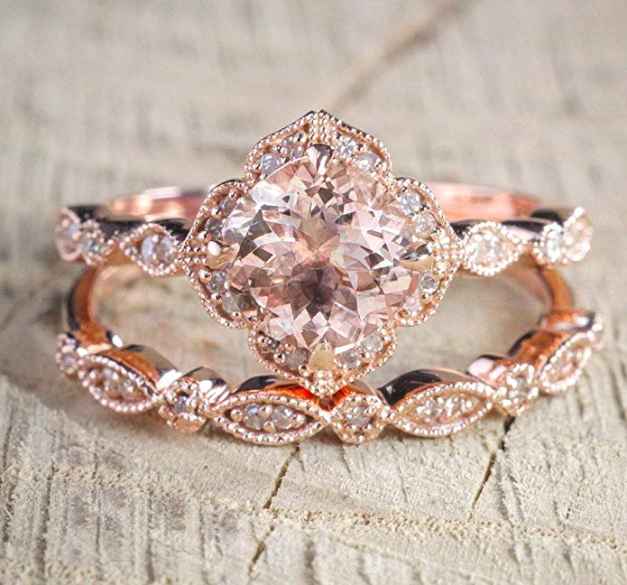 2 carat Round Cut Morganite and Diamond Halo Bridal Wedding Ring Set in Rose Gold: Bestselling Design