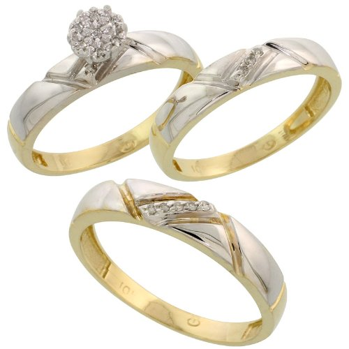 10k Yellow Gold Diamond Trio Engagement Wedding Ring Set for Him and Her 3-piece 4.5 mm & 4 mm wide 0.10 cttw Brilliant Cut, ladies sizes 5 – 10, mens sizes 8 - 14