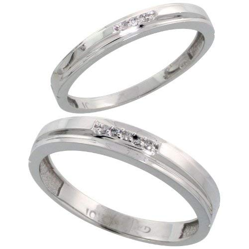 10k White Gold Diamond Wedding Rings Set for him 4 mm and her 3 mm 2-Piece 0.05 cttw Brilliant Cut, ladies sizes 5 – 10, mens sizes 8 - 14