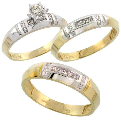 10k White Gold Diamond Trio Wedding Ring Set His 5.5mm & Hers 4mm, Men's Size 8 to 14