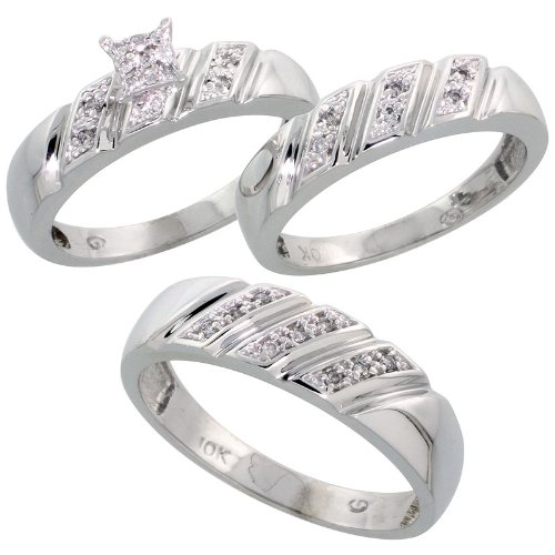 10k White Gold Trio Engagement Wedding Ring Set for Him and Her 3-piece 6 mm & 5 mm wide 0.15 cttw Brilliant Cut, ladies sizes 5 – 10, mens sizes 8 - 14