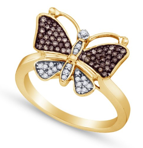 Sonia Jewels 10K Yellow and White Two 2 Tone Gold Channel Set Butterfly Round Cut Chocolate Brown and White Diamond Ladies Womens Fashion, Wedding Ring OR Anniversary Band (1/5 cttw.)