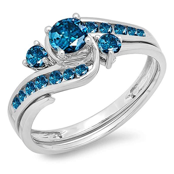 0.90 Carat (ctw) 14k White Gold Round Blue Diamond Ladies Swirl Bridal Engagement Ring Matching Band Set