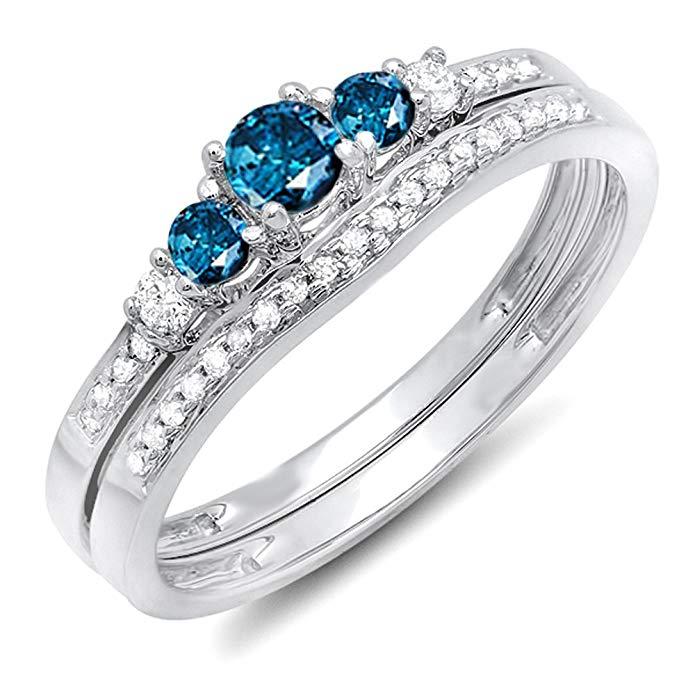 0.45 Carat (ctw) 14k White Gold Round Blue & White Diamond 5 Stone Bridal Engagement Ring Set 1/2 CT