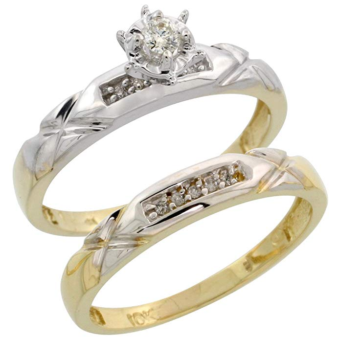 10k White Gold Ladies' 2-Piece Diamond Engagement Wedding Ring Set, 1/8 inch wide