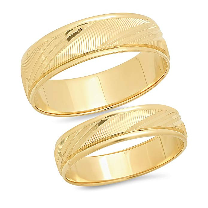 Sage Designs L.A. 14K Solid Yellow Gold His & Hers Matching Wedding Band Ring Set Laser Cut (Choose a Size)