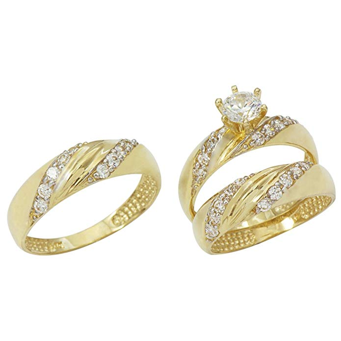 14K Yellow Gold His and Hers Cubic Zirconia (CZ) Engagement Wedding Trio Ring Set (1.1 cttw)