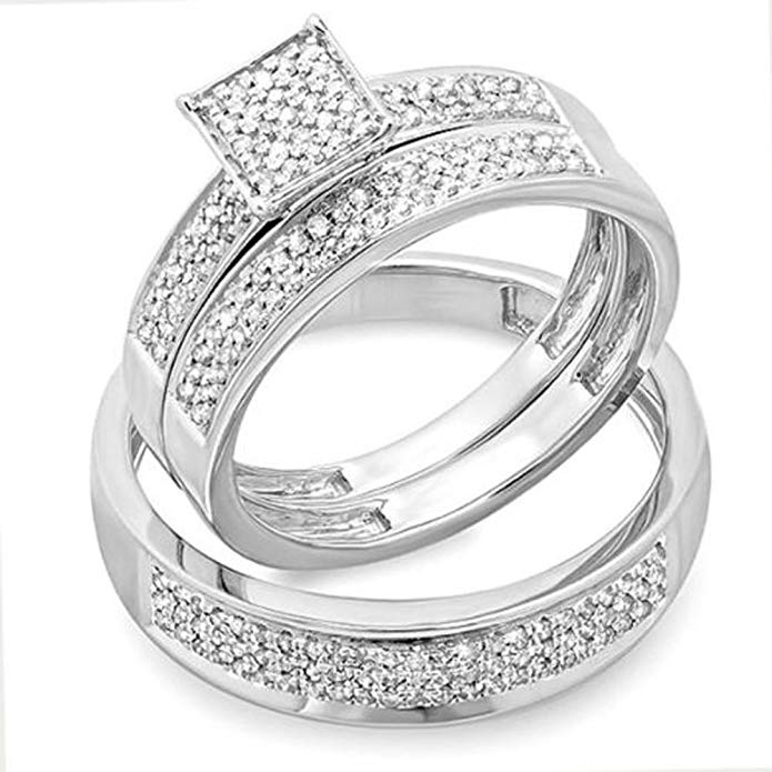 0.55 Carat (ctw) Round White Diamond Men's & Women's Micro Pave Engagement Ring Trio Bridal Set