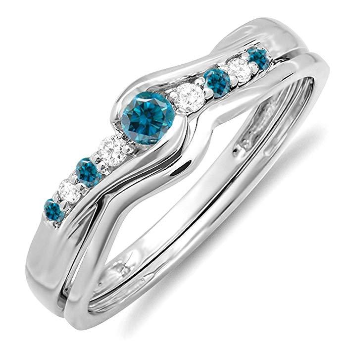 0.25 Carat (ctw) 10k White Gold Round Blue & White Diamond Ladies Bridal Promise Wedding Set Ring 1/4 CT