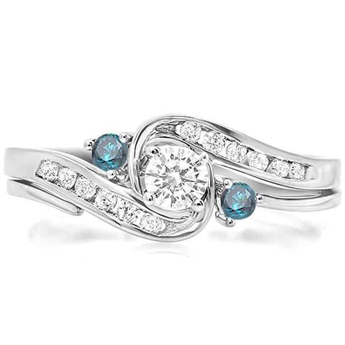 0.50 Carat (ctw) 10k White Gold Round Blue & White Diamond Ladies Swirl Bridal Engagement Ring Set 1/2 CT