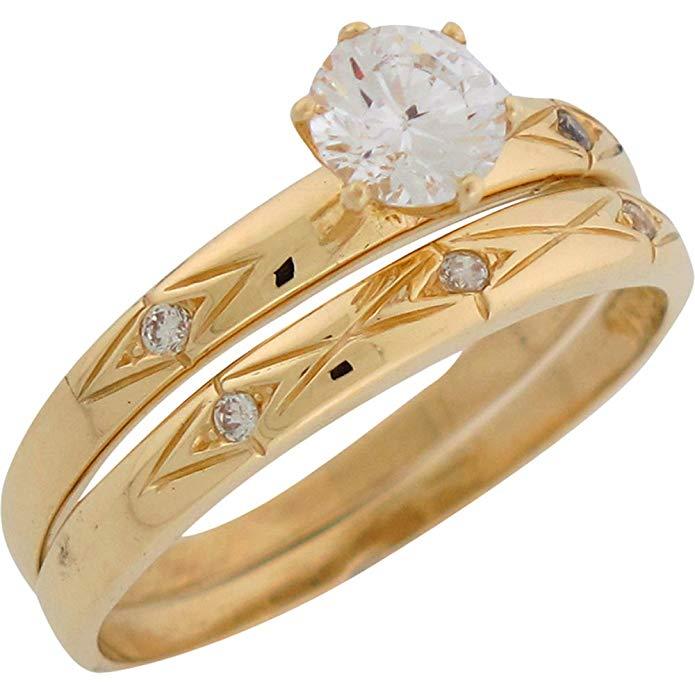10k Yellow Gold Shining Design Ladies Wedding Set Duo Rings