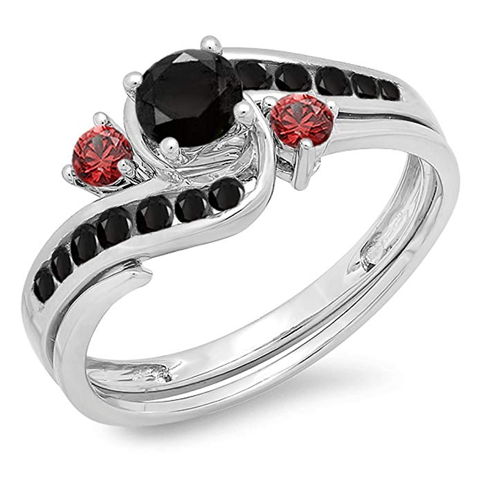 10K Gold Black Diamond & Red Ruby Side Stones Ladies Swirl Bridal Engagement Ring Set