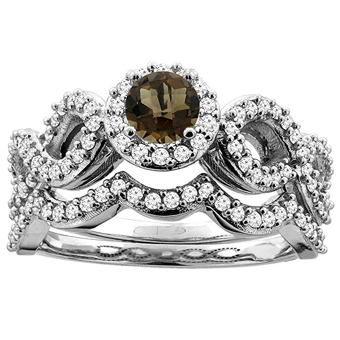 14K White Gold Natural Smoky Topaz Engagement Halo Ring Round 5mm Diamond 2-piece Accents, sizes 5 - 10
