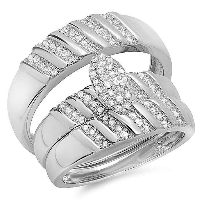 Dazzlingrock Collection 0.35 Carat (ctw) Sterling Silver White Diamond Men & Womens Engagement Ring Trio Set 1/3 CT