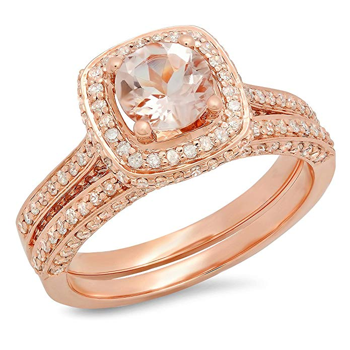 Dazzlingrock Collection 14K Gold Round Cut Morganite & White Diamond Ladies Split Shank Halo Engagement Ring Set
