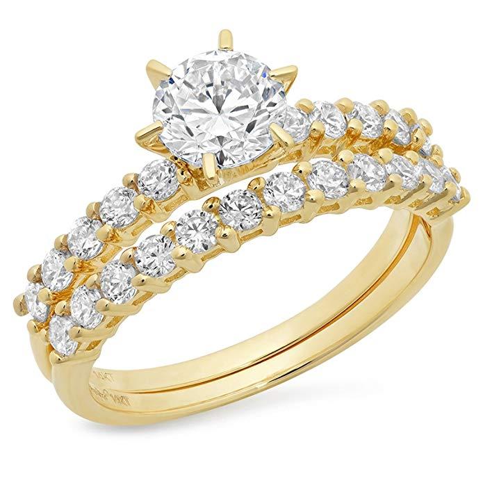3.20 CT Round Cut Simulated Diamond CZ Pave Halo Bridal Engagement Wedding Ring band set 14k Yellow Gold