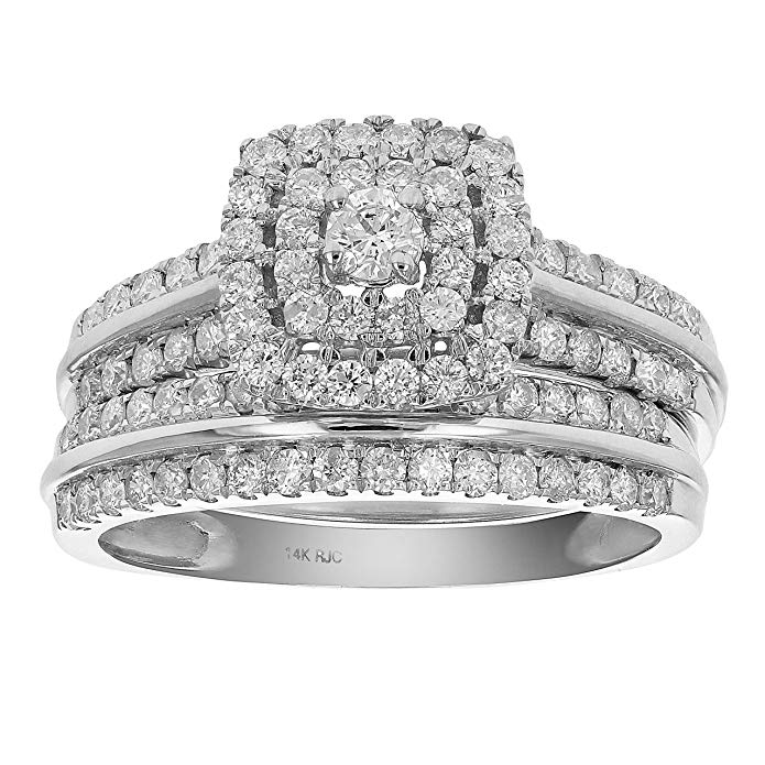 1 CT Diamond Halo Cushion Wedding Engagement Ring Set 14K White Gold